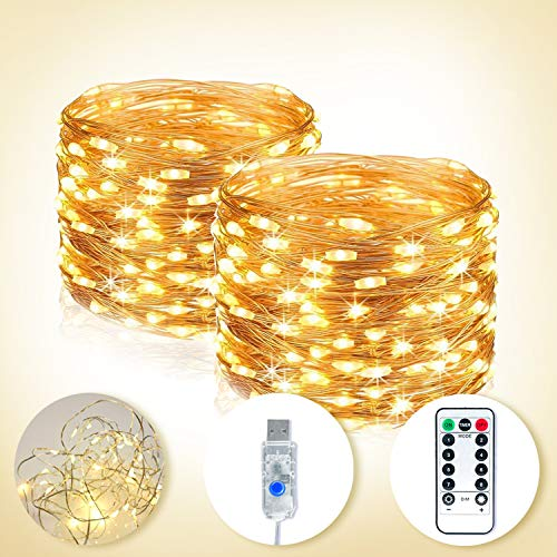 LED Fairy String Lights, [2 Pack] 10M/33Ft 100 LED USB Plug in Twinkle String Lights 8 Mods Dimmable Silver Wire Copper Lights with Remote Control Timer for Bedroom Christmas Tree Wedding(Warm White)