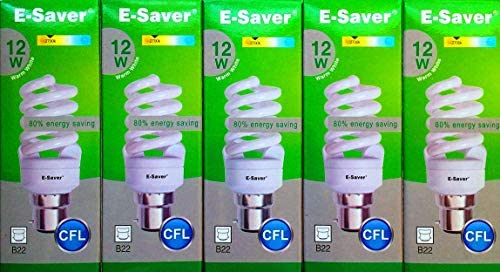 E-Saver - CFL Full Spiral - Energy Saving Light Bulbs - 12W = 60 Watt - (Pack of 3) - Warm White 2700k - Bayonet Cap (BC- B22- B22d