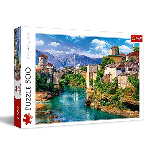 Trefl- Alte Brücke in Mostar, Bosnien Herzegowina 500 Teile, Premium Quality, für Erwachsene und Kinder AB 10 Jahren Puzle, Color Coloreado (37333)