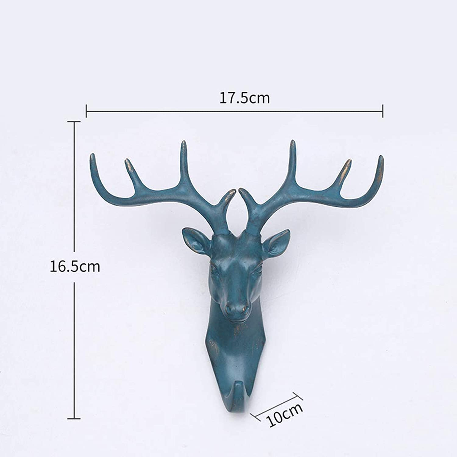 XUYRENP European Creative Home Wall Decoration Three-Dimensional Animal Bronze Deer Head Hook Wall Decoration Key Holder