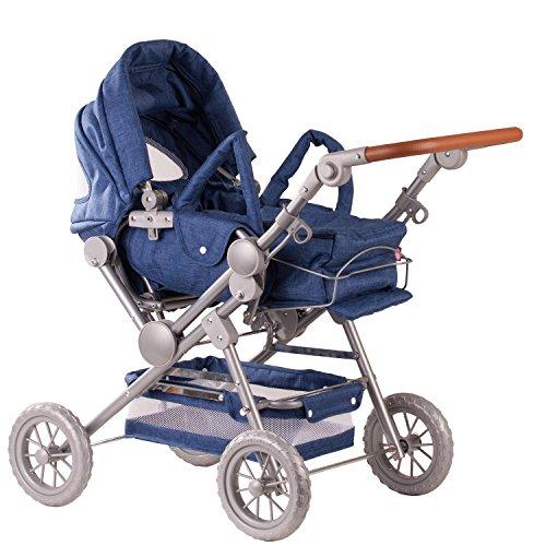 Götz 3402869 Denim höhenverstellbarer 4-rädriger Puppenwagen in blau / weiß - passend für alle Puppen bis 50 cm - geeignet für Kinder ab 3 Jahren