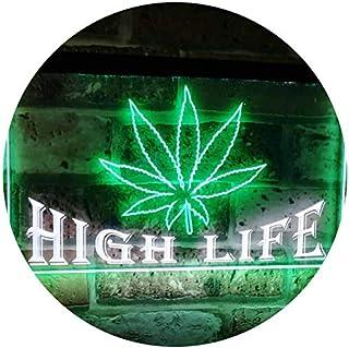 Marijuana Hemp Leaf High Life Dual Color LED Neon Sign White & Green 300 x 210mm st6s32-0403-wg