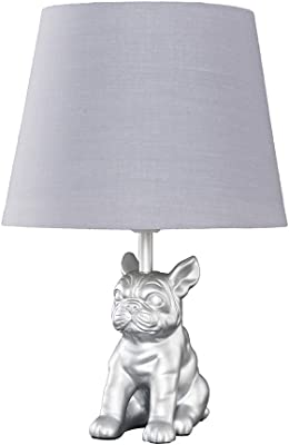 Modern Metallic Silver French Bulldog Table Lamp with a Grey Tapered Shade