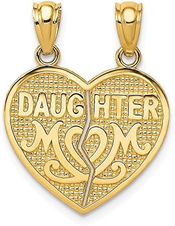 14k Yellow Gold Daughter Mom Break Apart Heart Pendant Charm Necklace Break apart Fine Jewelry product image