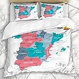 HATESAH Ropa de Cama - Funda nórdica Gobierno Azul Aragón España Mapa Gris Ubicaciones Islas Baleares Barcelona Provincias Vascas Diseño Microfibra Nuevo Set de Tres Piezas Funda de edredón 220 * 240