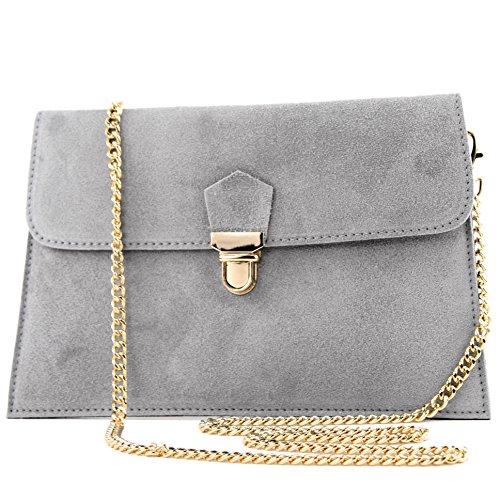 modamoda de -. ital Borsa scamosciata frizione borsa borsa borsa da sera Città T206, Colore:grigio