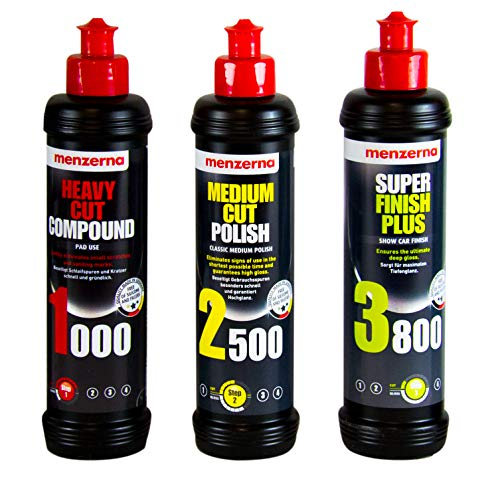 menzerna 250ml: Heavy Cut Compound 1000 & Medium Cut Polish 2500 & Super Finish 3800 250ml