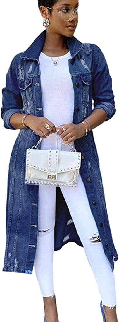 Ripped Maxi Long Denim Jacket for Women, Women's Casual Slim Fit Lapel Button Down Destroyed Trench Coat