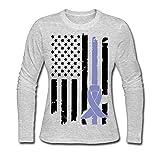 Conciencia del cáncer de esófago de Las Mujeres Camiseta de algodón de la Camiseta de Manga Larga Comfortsoft de la Bandera de EE. UU,L