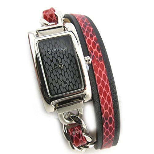 Morgan [N2416] - Armbanduhr 'French Touch' 'Morgan' red silberfarben (gartenfest).