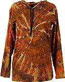 Guru-Shop Batik Shirt, Goa Langarmshirt, Herren, Rostorange, Baumwolle, Size:M, Sweatshirts & Hoodies Alternative Bekleidung