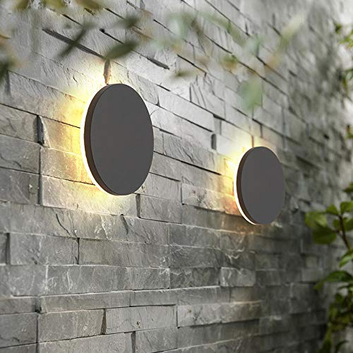 Luminaria LED de pared para zonas exteriores para impermeabilización IP65 para jardín decorativo para iluminación de baño de pasillo Branco quente Round Black