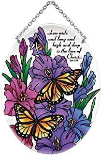 Joan Baker Designs Monarch Butterfly & Gladiolus Love of Christ Stained Glass Suncatcher (MO323R)
