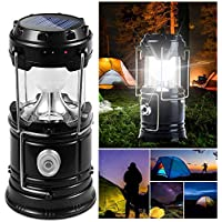 DAMIGRAM Lámparas de Acampada, Solar Lámpara Estirable de Luz LED Exterior Plegable Impermeable, Easy On & Off, para Camping, Vehículos, Cobertizos, Garajes, Emergencia, Excursión, Pesca