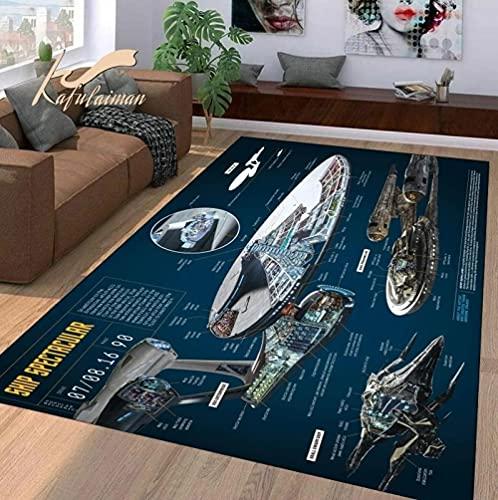 BGVDF Tapis Star Trek Tapis Enfants Jouent Tapis Tapis Décor À La Maison Antidérapant Tapis pour Salon Cuisine -160x230cm
