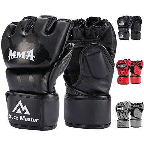 Brace Master MMA Gloves UFC Gloves Boxing Gloves for Men Women Leather More Paddding Fingerless Punching Bag Gloves for Kickboxing, Sparring, Muay Thai and Heavy Bag (Black, Large)