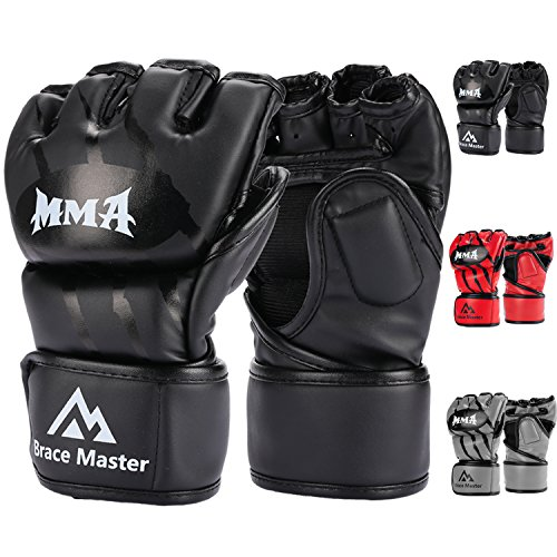 Brace Master MMA Gloves UFC Gloves Boxing Gloves for Men Women Leather More Paddding Fingerless Punching Bag Gloves for Kickboxing, Sparring, Muay Thai and Heavy Bag (Black, Large)