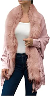 Fuax Fur Jacket Womans, HOSOME Women Winter Knitted Cashmere Poncho Capes Shawl Cardigans Sweater Coat