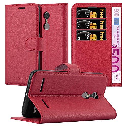 Cadorabo Hülle für Lenovo K6 / K6 Power in Karmin ROT - Handyhülle mit Magnetverschluss, Standfunktion & Kartenfach - Hülle Cover Schutzhülle Etui Tasche Book Klapp Style