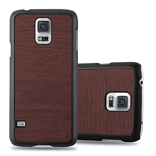 Cadorabo Custodia per Samsung Galaxy S5 MINI / S5 MINI DUOS in WOODY CAFFÈ - Rigida Cover Protettiva Sottile con Bordo Protezione - Back Hard Case Ultra Slim Bumper Antiurto Guscio Plastica