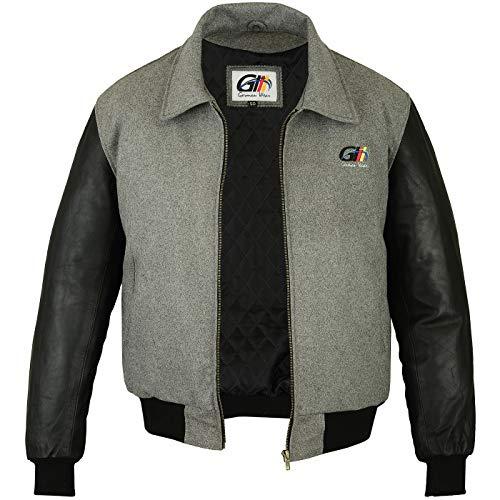 German Wear, Collegejacke Wolljacke College Blouson Varsity Jacke Lederärmel Lammnappa, Größe:54/XL, Farbe:Grau