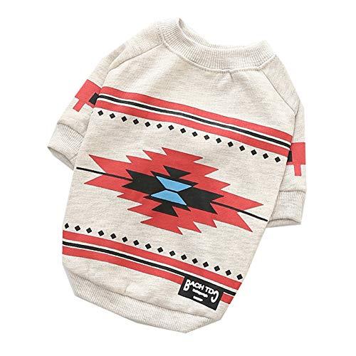 XGPT Hundebekleidung Haustier Kostüm National Stil Frühlings-und Sommer-Pullover Pullover Pullover,Pink,M