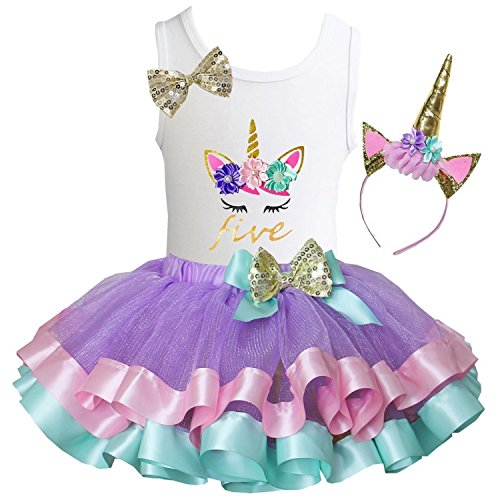 Kirei Sui Girls Lavender Pastel Satin Trimmed Tutu Birthday Unicorn M Five