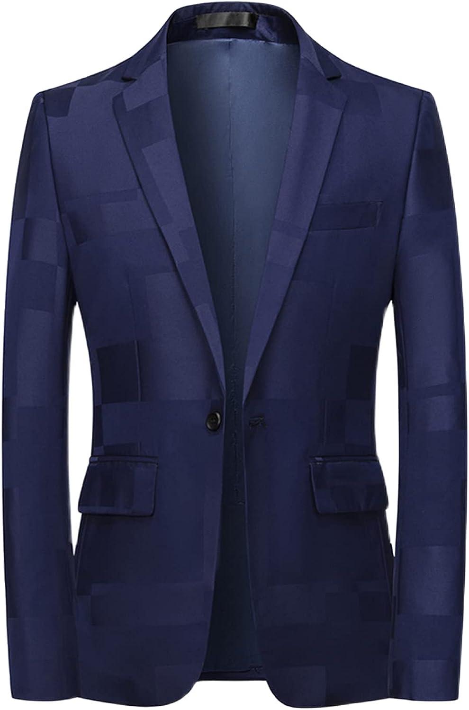 MOGU Men's Suit Jacket One Button Slim Fit Plaid Blazre Sport Coat