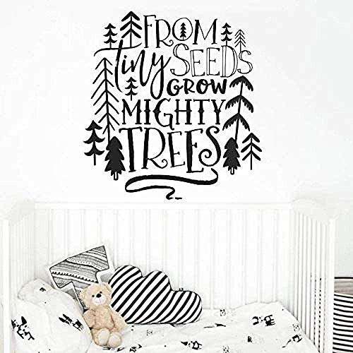 Muurstickers, Fashion Kwekerij Quote Muursticker van Kleine Zaden Groeien Machtige Bomen Muursticker Tribal Kids Kamer Decor Woodland Boom Vinyl Decal 57x60cm