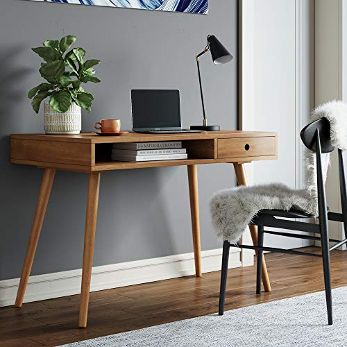 Nathan James Parker Modern Home Office Writing, Computer or Laptop Desk with Open Storage Cubby and...