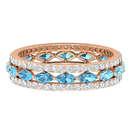 Anillo de aguamarina de corte marquesa de 4 x 2 mm, de diamantes HI-SI, anillo de eternidad, anillo de compromiso de oro (calidad AAAA), oro de 10 quilates