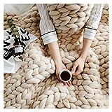 Jlxl Grande couverture tricotée épaisse faite à la main avec du fil vegan épais, décoration d'intérieur - Cadeau pour un canapé, une ferme, un banc, un lit - Couleur : beige - Taille : 100 x 100 cm