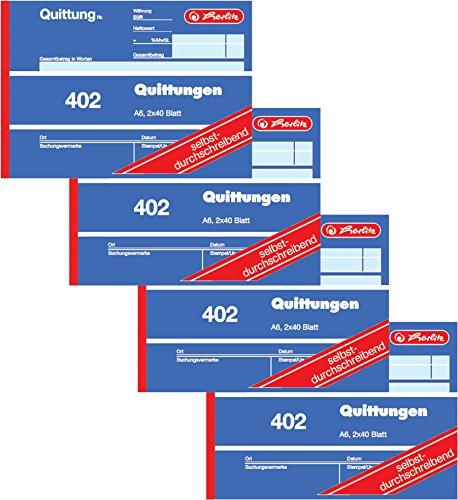 Herlitz Quittungsblock 402, selbstdurchschreibend, A6 quer, 2 x 40 Blatt (4 Stück)
