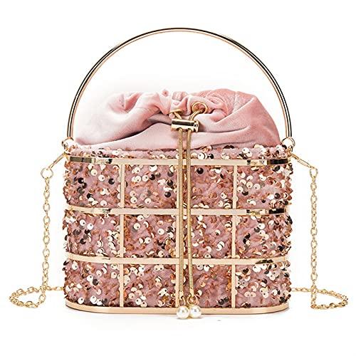 WSZMD Bolso Cristal Mujer Bolso de Noche Lentejuelas Bolsos de Cubo De Metal para Mujer Bolsos de Hombro con Cadena Monedero Banquete de Fiesta (Color : Pink, Size : S)