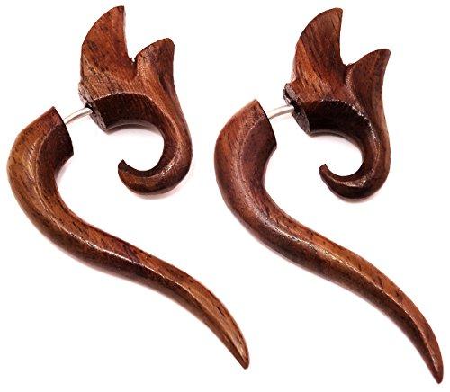 Made in Zen Par de falsos dilatadores de oreja de madera, diseño en espiral étnico, color marrón