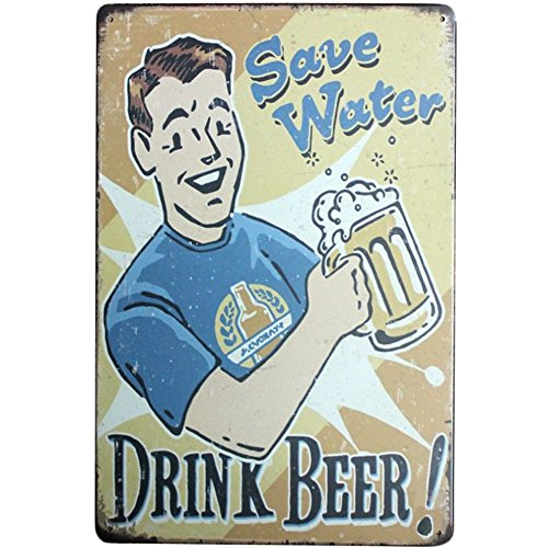 Plaque en t/ôle g/én/érique 20 x 30 cm Save Water Drink Beer Bier