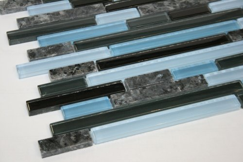 Random Brick Pattern Glass Tile & Granite Tile; Color: Black, Gray & Blue Glass with Blue Pearl Granite
