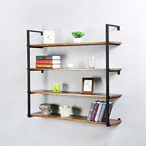 Industrial Metal and Wood Wall Shelf Unit,Rustic Floating Wood Shelves Wall Mounted,24in Iron Real Reclaimed Wood Book Shelves,Hanging Wall Shelves for Bedrooms Office,3 Tier Bookshelf Shelving