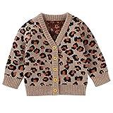 puseky Baby Toddler Girl Knit Cardigan Long Sleeve Sweater Knitwear for 3-24M Baby Girl Khaki