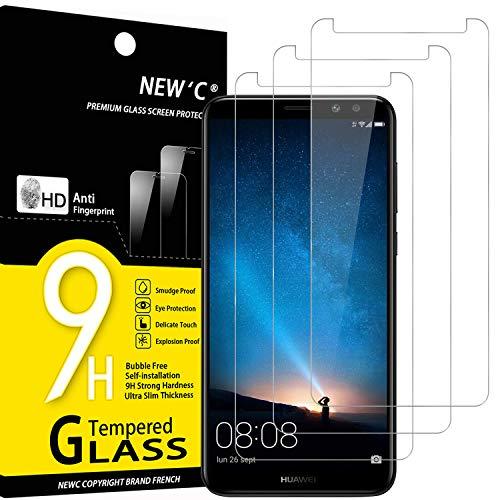 NEW'C 3 Stück, Panzerglas für Huawei Mate 10 Lite Schutzfolie, Frei von Kratzern, 9H Härte, HD Displayschutzfolie, 0.33mm Ultra-klar, Ultrabeständig