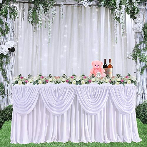 HBBMAGIC Tüll Tischrock Weiß Doppelschicht Wellig Romantisch Tutu Tischdeko Party deko für Hochzeit, Geburtstag, Babyparty, Candy bar zubehör