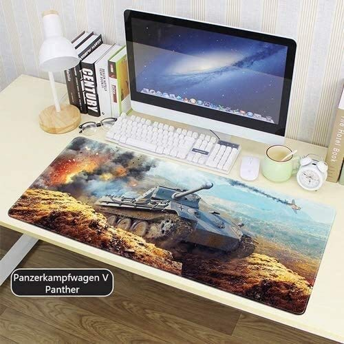WJFQ Gaming Mouse Pad Mat Tastatur Pad WOT Große Panzerkampfwagen V Panther D-Serie Medium Tank Nucleus Battlefield Pioneer 900x400mm for Home Office
