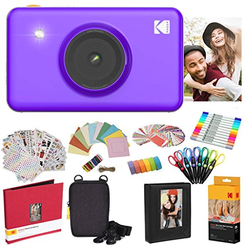 Kodak Mini Shot Instant Camera (Purple) All-in-Bundle + Paper (20 Sheets) + Deluxe Case + Photo Album + 7 Unique Sticker Sets + Markers + Scissors + Border Stickers and So Much More
