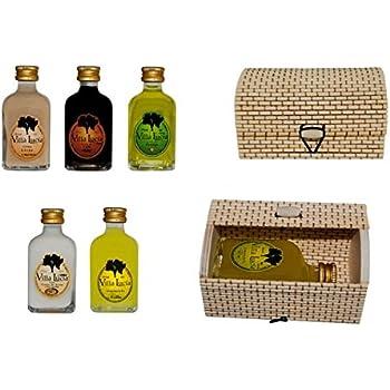 Lote de 15 Botellas de Licor Minis en Cajas de Mimbre Rectangulares. Detalles de Bodas y Eventos.(8 cm. - 5 cl.)(10,5 x 6 cm.): Amazon.es: Hogar