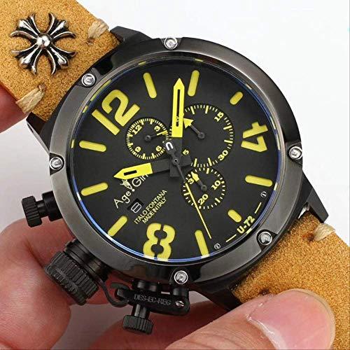 UEJDB Neue Quarz Chronograph Stoppuhr Menü Chronometer U1001 U72 Chimera Gealtert Braun Schwarz Leder Boot Uhr Saphir AAA+ Braungelb