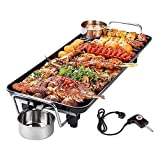 SEAAN Electric Teppanyaki Griddle Grill Indoor Non-Stick Table Top BBQ Grill Smokeless with 5-Level Temperature Control,for 1-4 People (19''x11'')