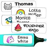 50 Etiquetas Adhesivas Personalizadas, de 6 x 2 cms, para marcar objetos, libros, fiambreras, etc. Color Blanco
