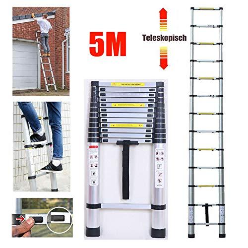5m Teleskopleiter Mehrzweckleiter für Dachboden/Kletterdach/Büronutzung/Baujob Ausziehbar Aluleiter Rutschfeste Stufen 150 Kg Belastbar