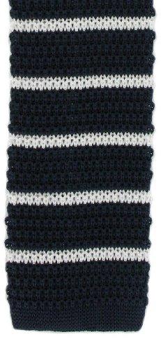 Michelsons of London Marine/Blanc soie tricoté rayé maigre cravate de