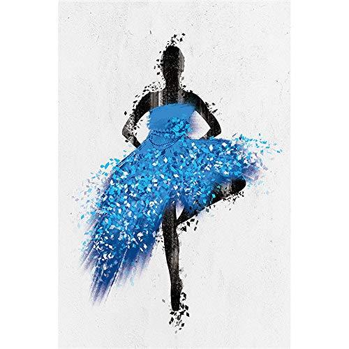 Geiqianjiumai Elegante Bailarina niña Acuarela Abstracta Minimalista Pared Arte Cartel impresión